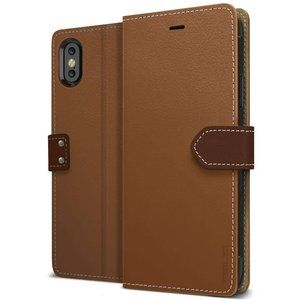 iPhone X Obliq K1 Leather Wallet Case - Brown